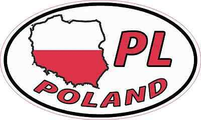 5X3 Oval PL Poland Sticker Vinyl Country Flag Travel Vehicle Cup Hobby Car Decal