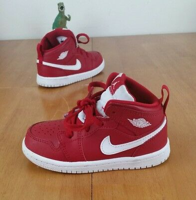 cheap for discount 9c9dd bb42e NIKE AIR JORDAN 1 Mid Retro BT Baby Toddler Gym Red White Size 8C