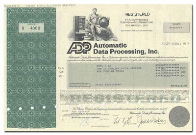 Automatic Data Processing, Inc. (ADP) Bond Certificate