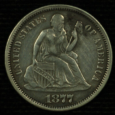 Liberty Seated Silver Dime. 1877 P. EF Details. Lot # 80065-1877