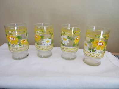 "Set of 4 Vintage Swanky Swig Juice Glasses Retro~ Flowers 4"" Tall Yellow & White"
