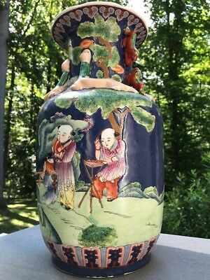 Chinese Large Famille Porcelain Vase with Beauty and Flowers, 14""