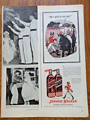 1946 Johnnie Walker Scotch Whiskey Whisky Ad Playing a Game of Polo