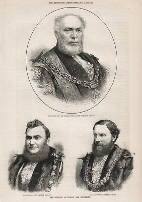 OLD ANTIQUE 1876 PRINT THE LORD MAYOR AND SHERIFFS OF LONDON AND MIDDLESEX b76