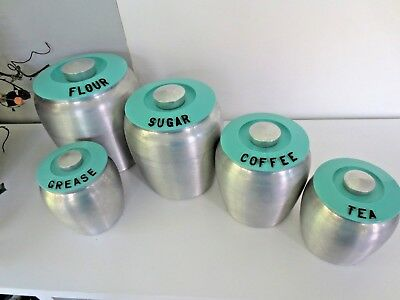 Vintage MCM Kromex Turquoise Aqua Spun Aluminum Canister & matching Grease Can .