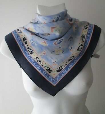 Stunning Vintage Small Nautical Pure Silk Neck Scarf Rolled Hem   (8137x)