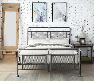 Industrial Metal Scaffold Pipe Bed Frame Black Silver Single Double King Size