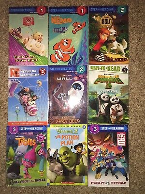 Lot of 9 level 1, 2 and 3 readers books ~ All kids movies shrek bolt trolls