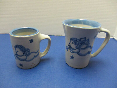 M A Hadley Rare Two Mugs Christmas Angel Pattern Retired Pottery
