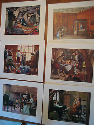 VINTAGE HISTORY OF MEDICINE IN PICTURES 6 ART PRINTS ROBERT A. THOM c1950's/60s