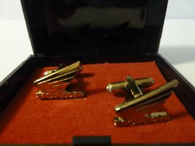 Honda gold cuff links Vintage wing logo preowned with original box RARE