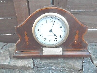Attractive,vintage, Inlaid Mahogany Mantle Clock
