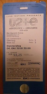 1 Ticket U2 Experience Innocence Tour 2018 04oktober 2018 In