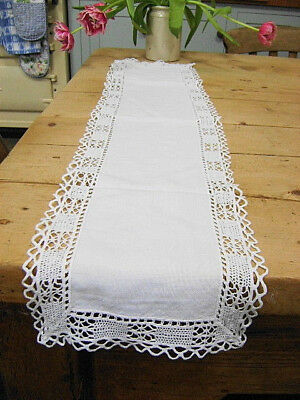 **vintage Antique White Cotton Crochet Lace Table Runner, 36 X 8 Inches **