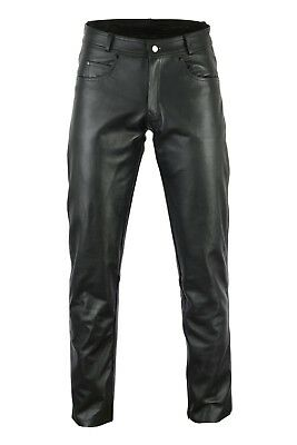 Black Tab Ladies Classic Cruiser Motorcycle Strong Soft Leather 5 Pocket Jeans