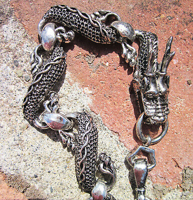Unique Design Detailed Dragons Head & Body Tibetan Silver Link Bracelet Unisex