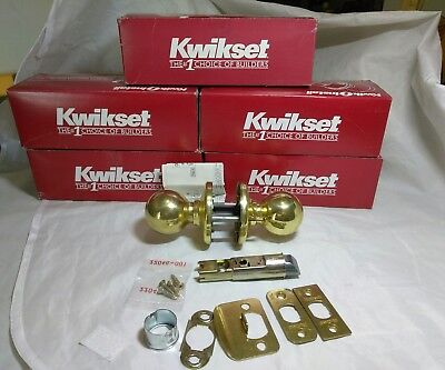 5 Sets Of Kwikset Polished Brass Polo Passage Door Knobs, #200P 3 6Al Rcs. Lot 5