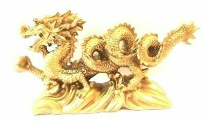 "NEW RED/GOLD Chinese Feng Shui Dragon Figurine Statue for Luck & Success 6"" LONG"