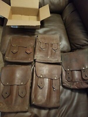 Vintage Military Issued Romanian Ak/akm Leather Four Cell Magazine Pouch