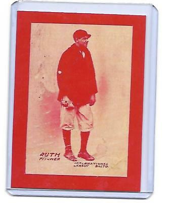 1914 BABE RUTH ROOKIE RC CARD BALTIMORE INTERNATIONAL NEWS RARE REPRINT red