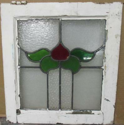 "OLD ENGLISH LEADED STAINED GLASS WINDOW Pretty Abstract Floral Design 17"" x 18"""