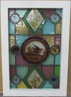 "VICTORIAN ENGLISH LEADED STAINED GLASS WINDOW Nice Handpainted Bird 14.5"" x 21"""