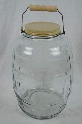 """Vtg 13-1/2"""" Large 2.5 Gallon Glass Pickle Jar With Wire Bail & Wood Handle & Lid"""
