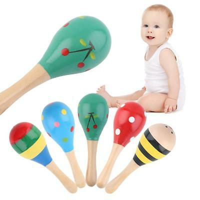 5PCS Colorful Wooden Maraca Wood Rattle Musical Party Baby Shaker Kids Child Toy