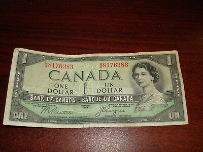DEVIL'S FACE - 1954 - Canada - $1 note - Canadian one dollar - MA8176383