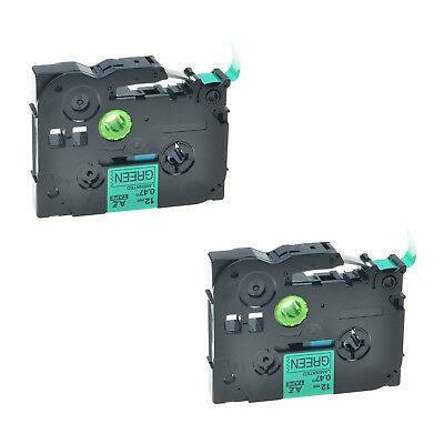 2PK TZ-731 TZe-731 Black on Green Label Tape For Brother P-Touch PT-E300 12mmx8m