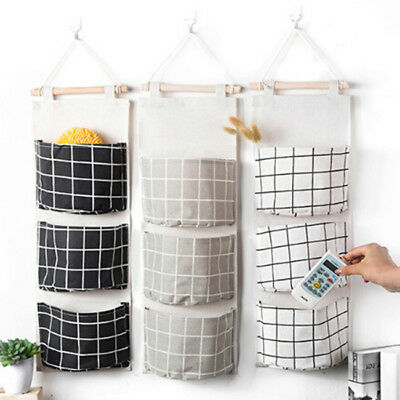 Popular 3 Pockets Plaid Wall Door Closet Hanging Storage Bag Organizer Pouch LG