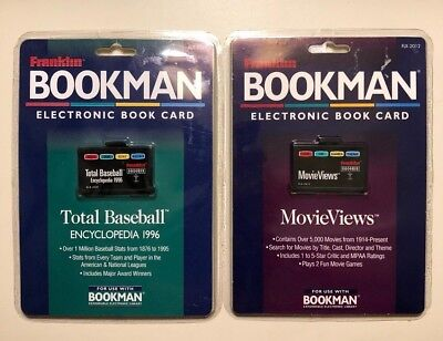 Lot of 2 Franklin Bookman Cartridges MovieViews & Total Baseball Encyclopedia 96