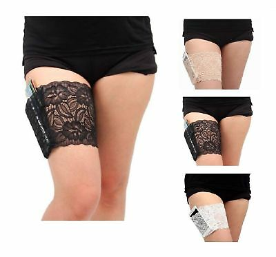 Anti Chafing Thigh Womens Non Slip Lace Socks Pocket Bands Legs Ladies
