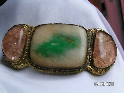 Late 19th ANTIQUE QING DYNASTY CHINESE CHINA GILT BRONZE BELT BUCKLE JADE
