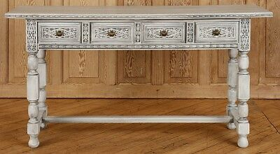 CARVED PAINTED CONSOLE TABLE H-FORM STRETCHER Lot 39