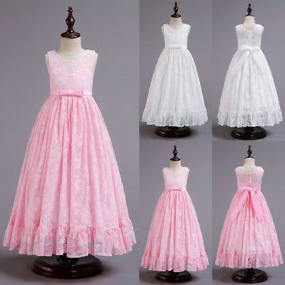 US Flower Kids Girls Lace Wedding Bridesmaid Pageant Party Prom Formal Dresses