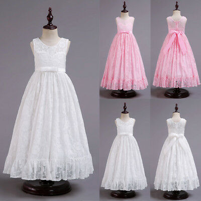 AU Stock Flower Girls Lace Wedding Bridesmaid Pageant Occasion Prom Formal Dress