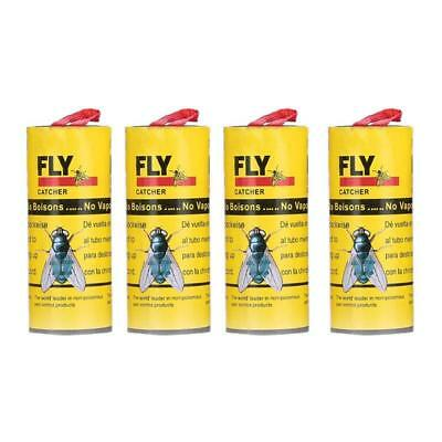 4/8 Rolls Insect Bug Fly Glue Paper Catcher Trap Ribbon Strip Sticky Tape Flies