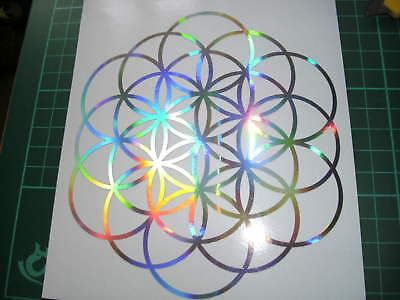 Holographic Mandala iridescent Rainbow Flower of Life sticker