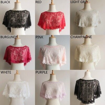 Bridal Lace Shrug Bolero Cape Wrap Shawl Capelet Tulle Mesh Wedding Floral Trim