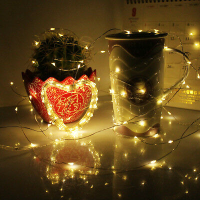20/200 LED Battery/Solar Powered Copper Wire String Lights Party Wedding Decor U