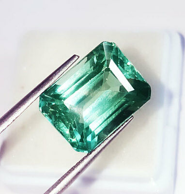 Loose Gemstone Emerald Shape 11.92 Ct Lab Created Brazilian Emerald