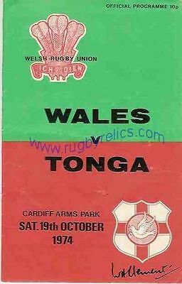 WALES v TONGA 1974 RUGBY PROGRAMME 19 Oct at CARDIFF