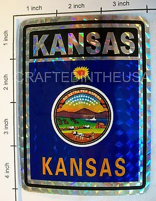 "Reflective Sticker Kansas State Flag 3x4"" Inches Adhesive Car Bumper Decal New"