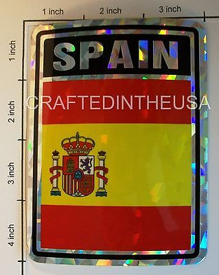 """Reflective Sticker Spain Flag Spanish 3x4"""" Inches Adhesive Car Bumper Decal"""