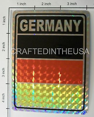 """Reflective Sticker Germany Deutschland Flag 3x4"""" Inches Adhesive Car Decal"""