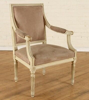 FRENCH LOUIS XVI STYLE UPHOLSTERED OPEN ARM CHAIR Lot 26