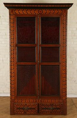 TRAMP ART CABINET WITH RED GLASS WINDOWS Lot 136