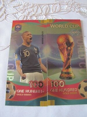 2018 Russia World Football Cup FIFA 100 Roubles  Banknotes France Kylian Mbappé