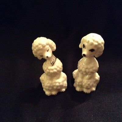 Bone China Poodle Salt and Pepper Shakers Japan